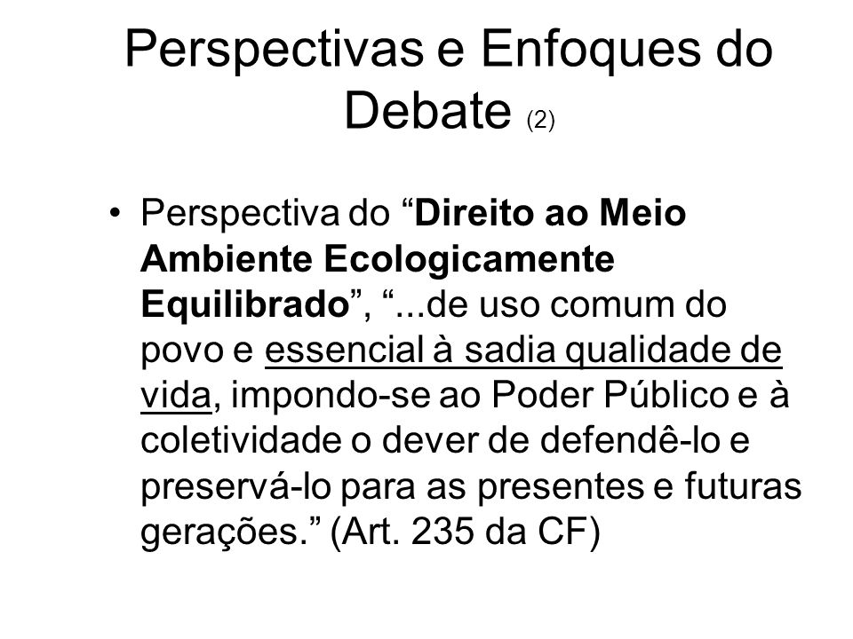 Perspectivas e Enfoques do Debate (2)