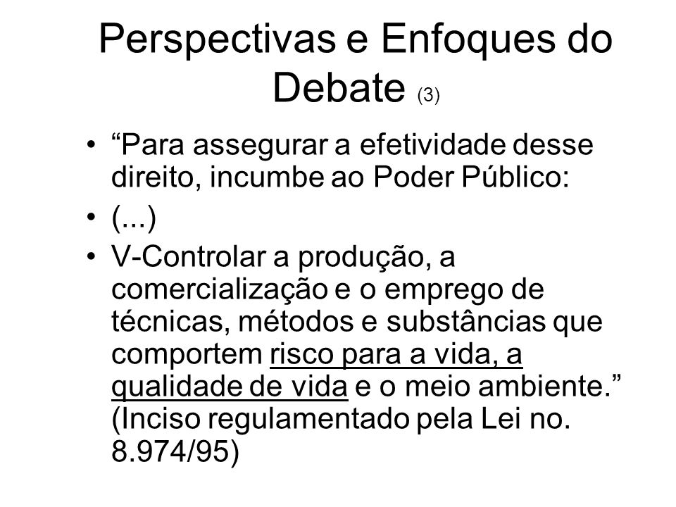Perspectivas e Enfoques do Debate (3)