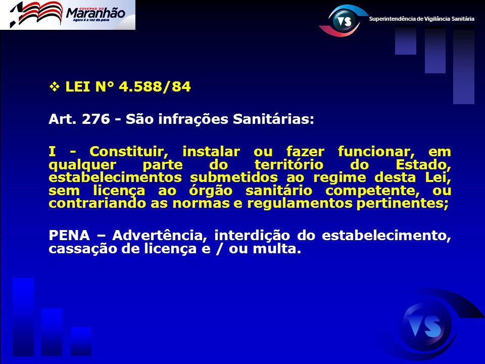 LEI N° 4.588/84 Art. 276 - São infrações Sanitárias: