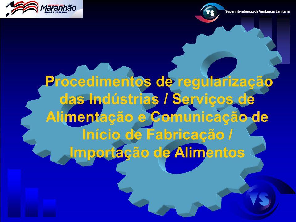 Procedimentos de regularização das Indústrias / Serviços de Alimentação e Comunicação de Início de Fabricação / Importação de Alimentos
