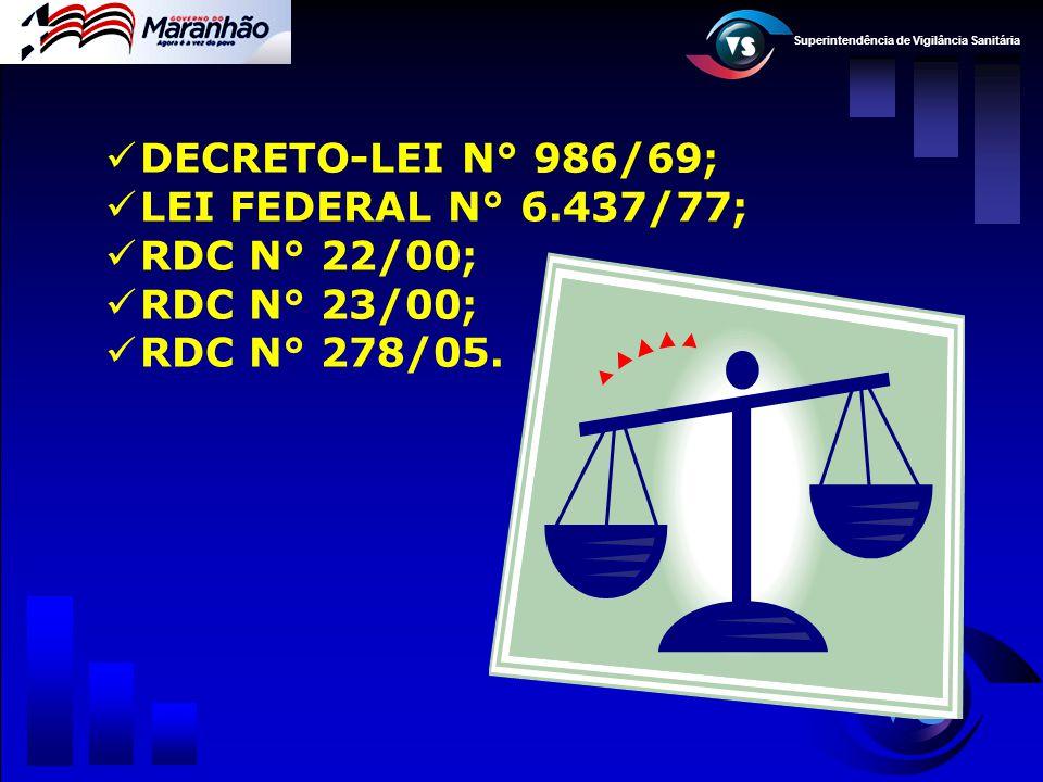 DECRETO-LEI N° 986/69; LEI FEDERAL N° 6.437/77; RDC N° 22/00; RDC N° 23/00; RDC N° 278/05.