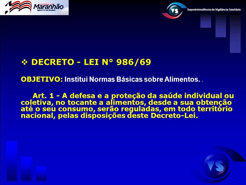 DECRETO - LEI N° 986/69 OBJETIVO: Institui Normas Básicas sobre Alimentos. .
