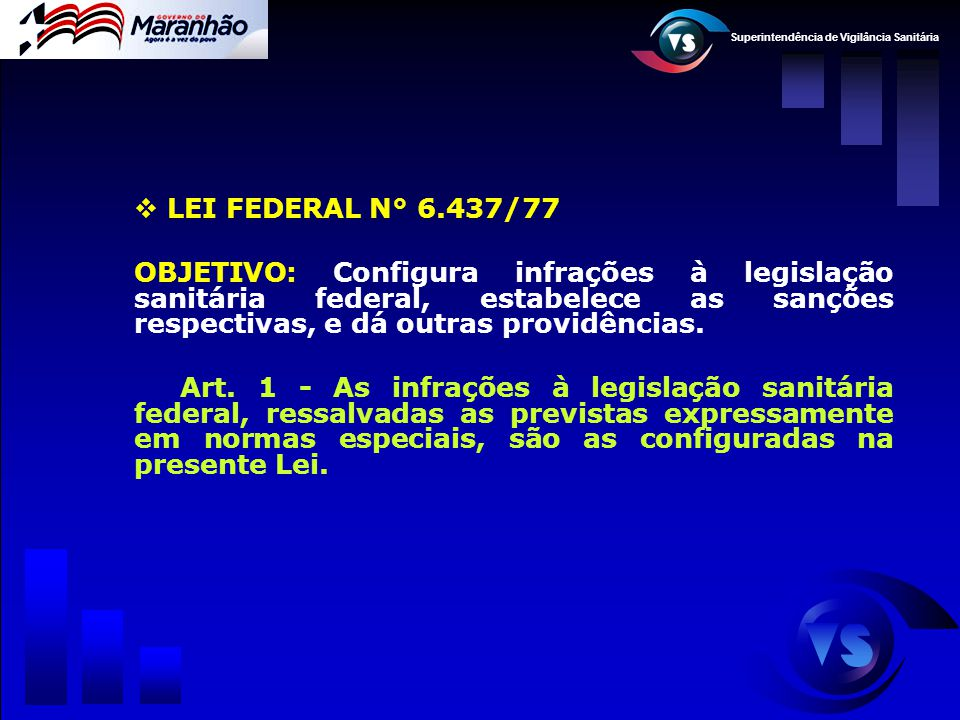 LEI FEDERAL N° 6.437/77 OBJETIVO: Configura infrações à legislação sanitária federal, estabelece as sanções respectivas, e dá outras providências.
