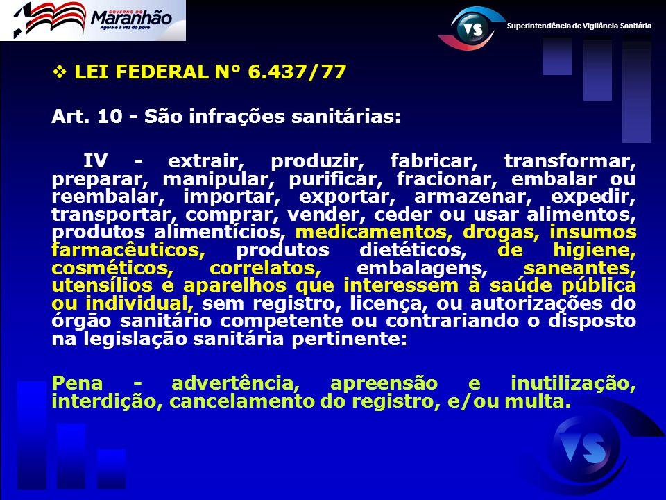 LEI FEDERAL N° 6.437/77 Art. 10 - São infrações sanitárias:
