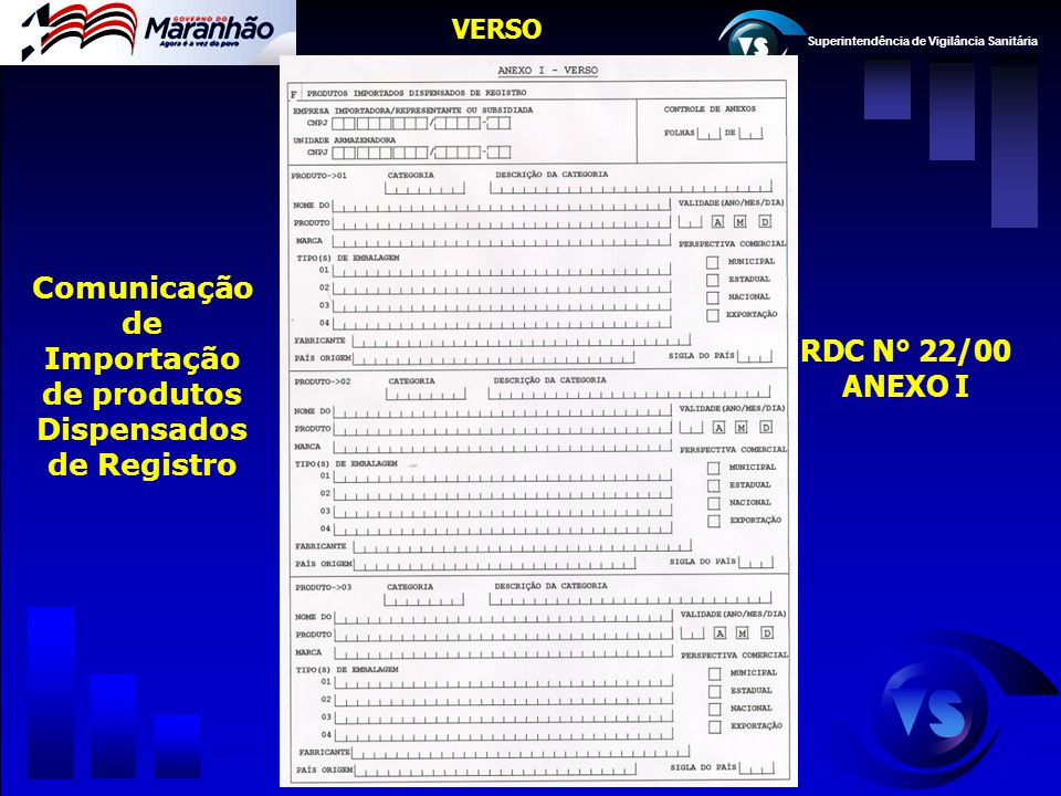 Comunicação de Importação de produtos Dispensados de Registro