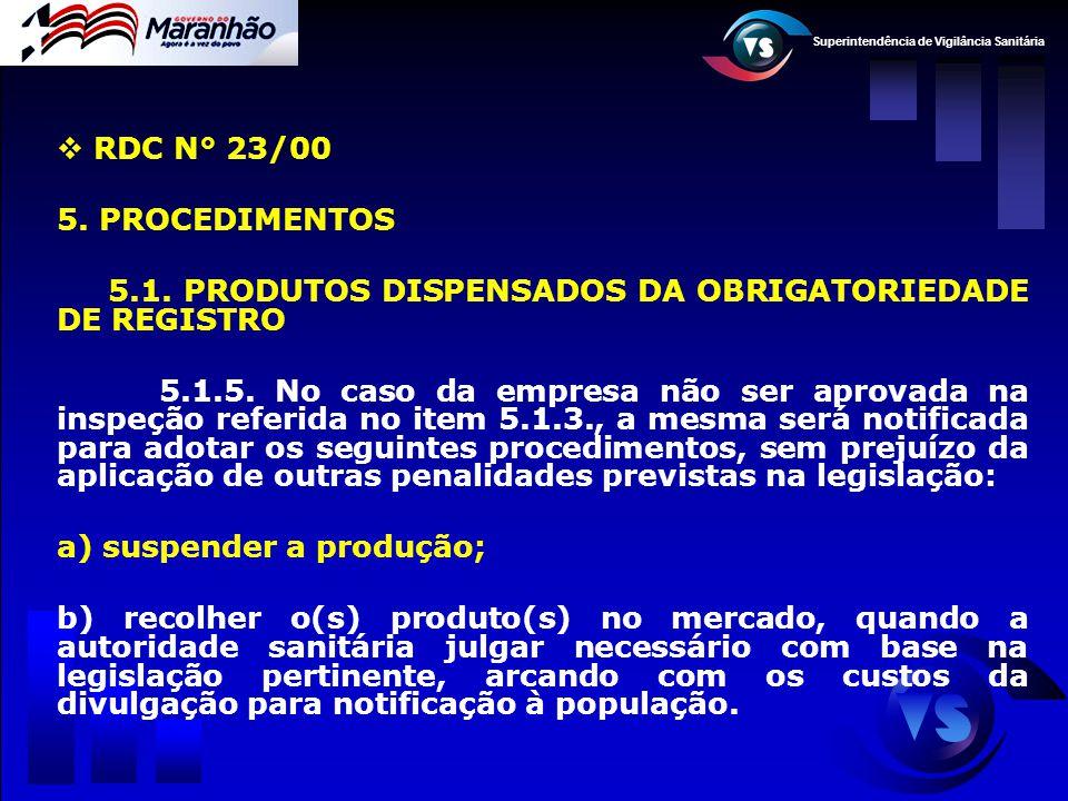 RDC N° 23/00 5. PROCEDIMENTOS. 5.1. PRODUTOS DISPENSADOS DA OBRIGATORIEDADE DE REGISTRO.