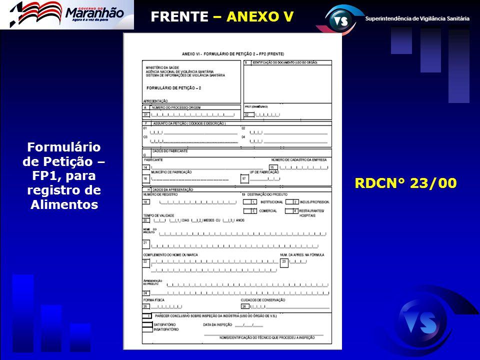 Formulário de Petição – FP1, para registro de Alimentos