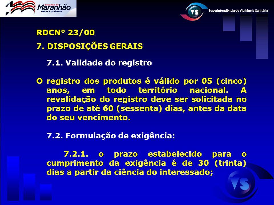 RDCN° 23/00 7. DISPOSIÇÕES GERAIS. 7.1. Validade do registro.