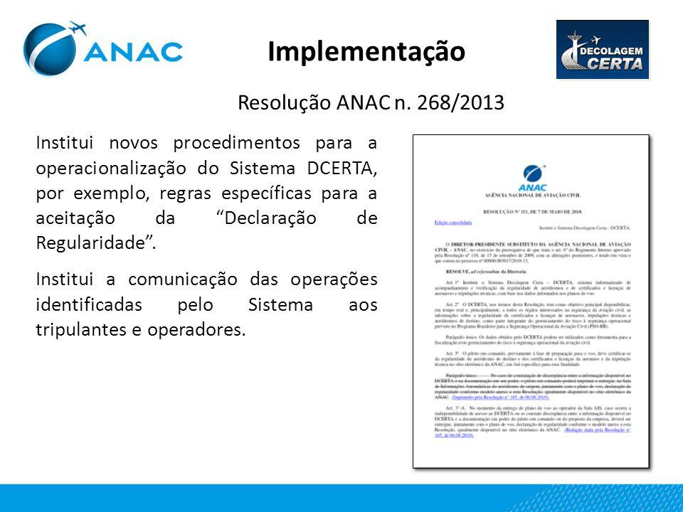 Implementação Resolução ANAC n. 268/2013