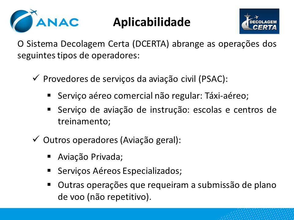 Aplicabilidade O Sistema Decolagem Certa (DCERTA) abrange as operações dos seguintes tipos de operadores: