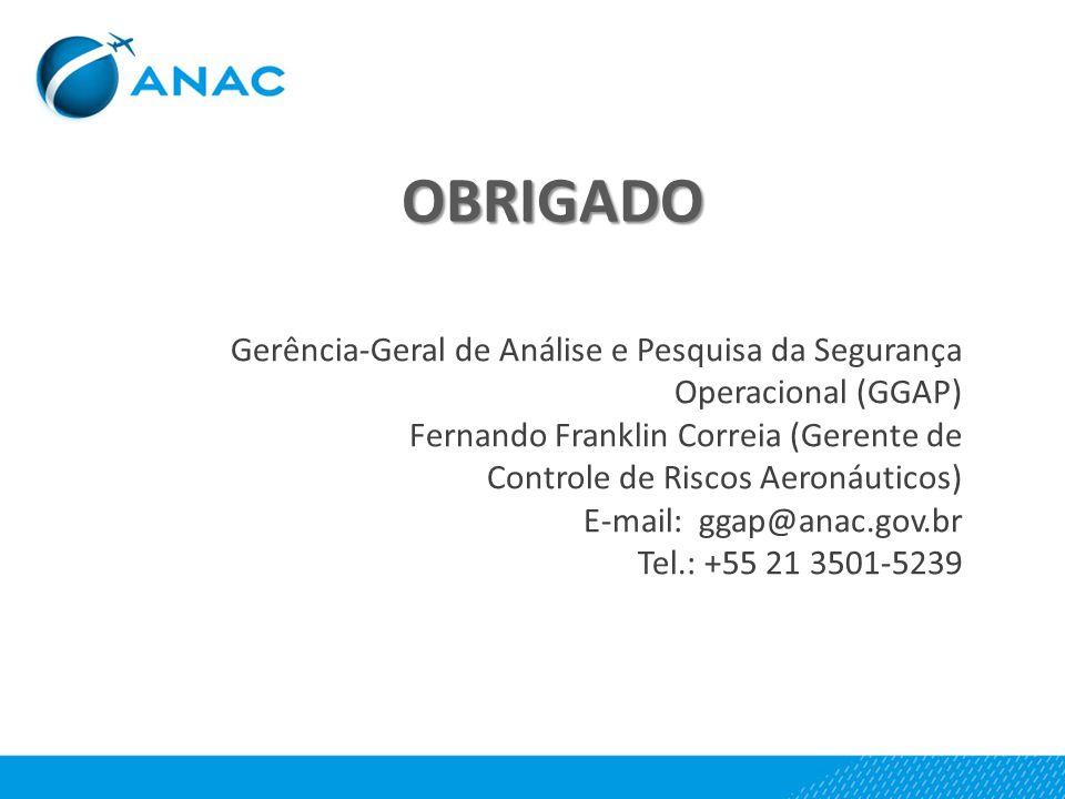 OBRIGADO Gerência-Geral de Análise e Pesquisa da Segurança Operacional (GGAP) Fernando Franklin Correia (Gerente de.