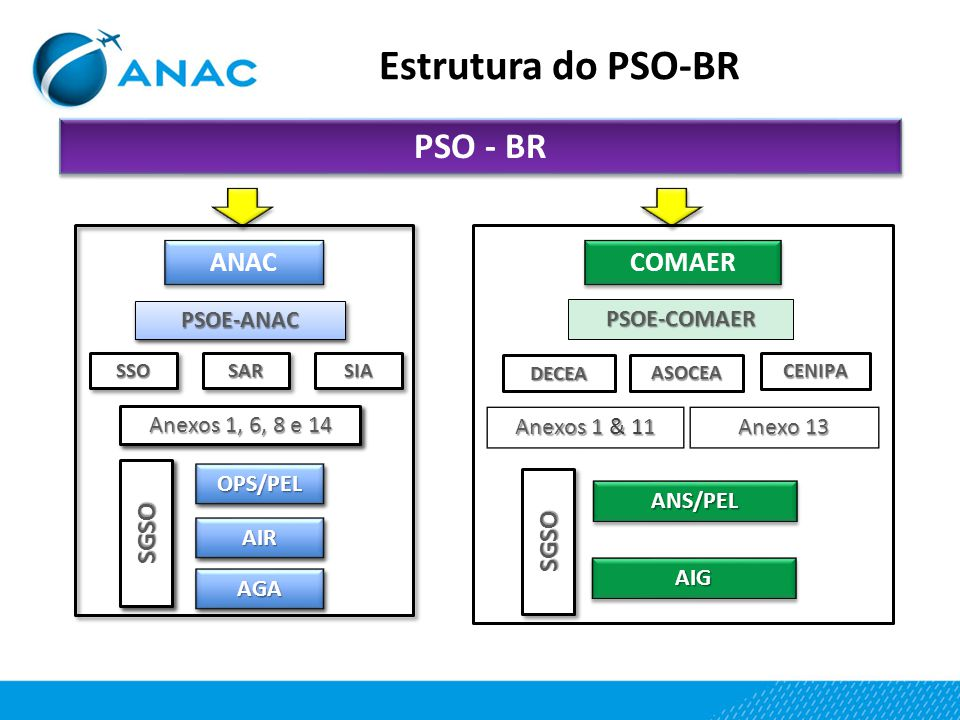 Estrutura do PSO-BR PSO - BR ANAC COMAER SGSO SGSO PSOE-ANAC