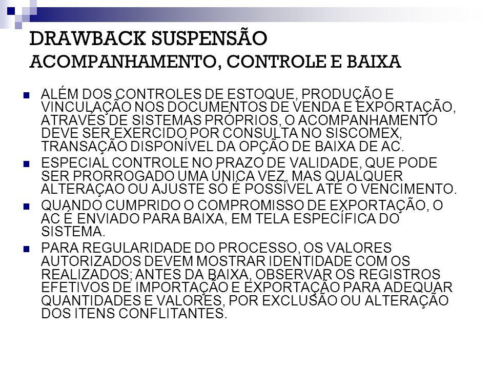 DRAWBACK SUSPENSÃO ACOMPANHAMENTO, CONTROLE E BAIXA