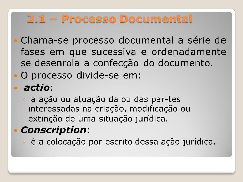 2.1 – Processo Documental Chama-se processo documental a série de fases em que sucessiva e ordenadamente se desenrola a confecção do documento.