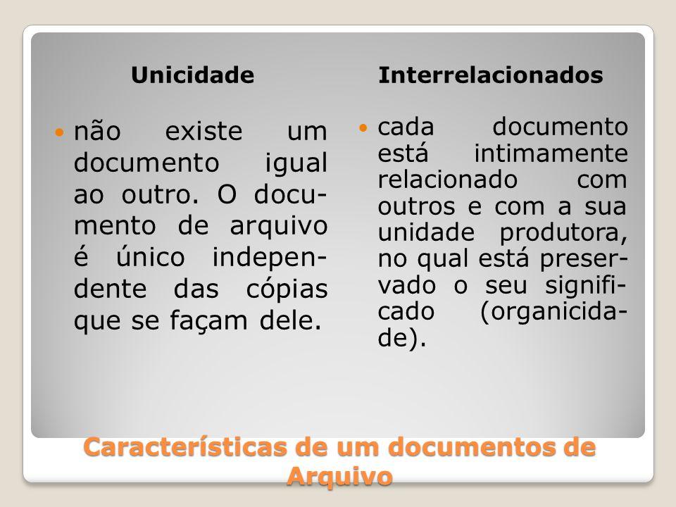 Características de um documentos de Arquivo