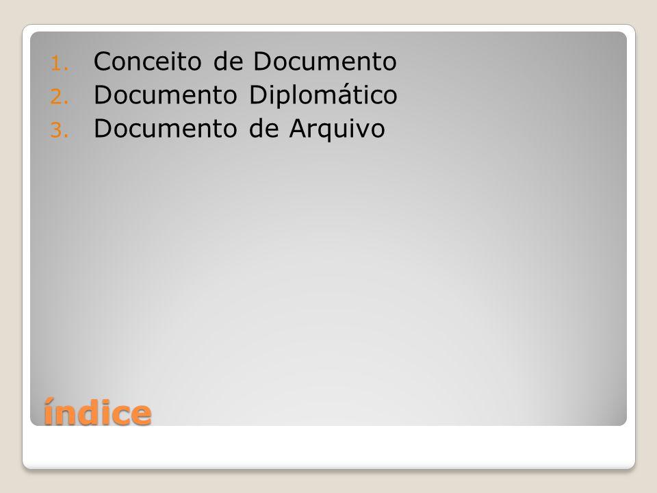 índice Conceito de Documento Documento Diplomático