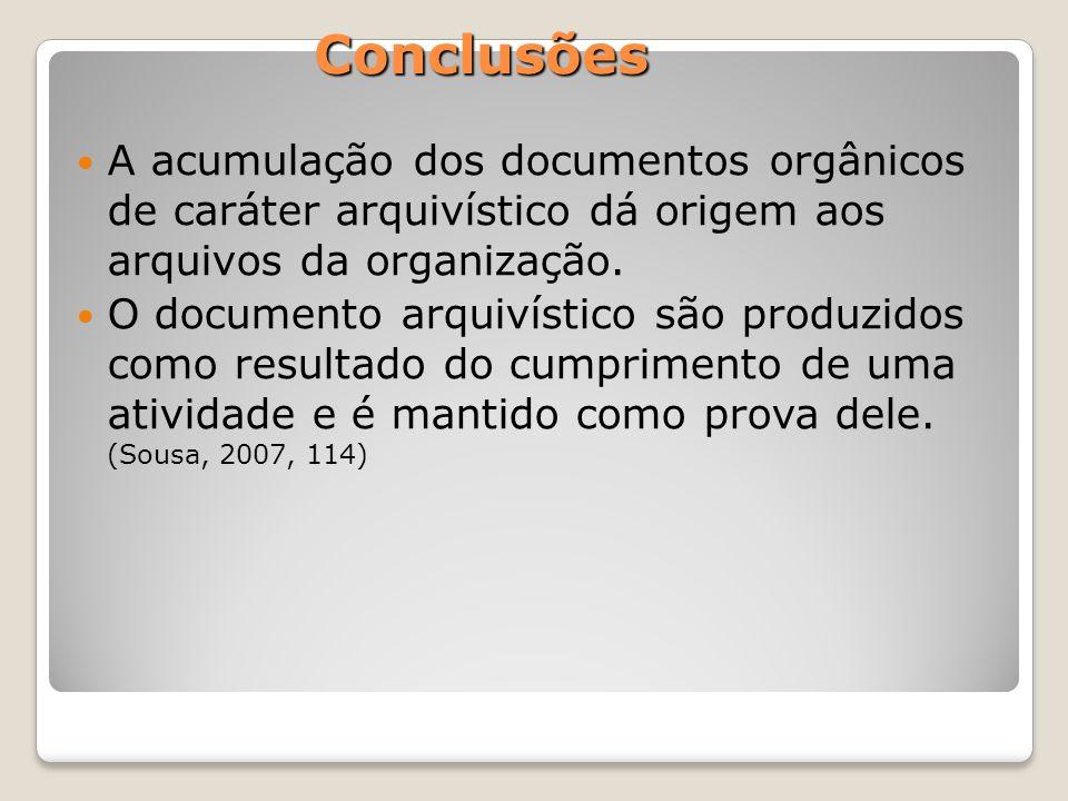 Conclusões A acumulação dos documentos orgânicos de caráter arquivístico dá origem aos arquivos da organização.