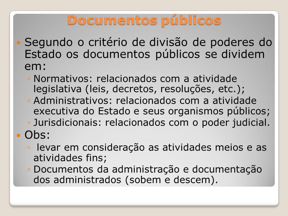 Documentos públicos Segundo o critério de divisão de poderes do Estado os documentos públicos se dividem em: