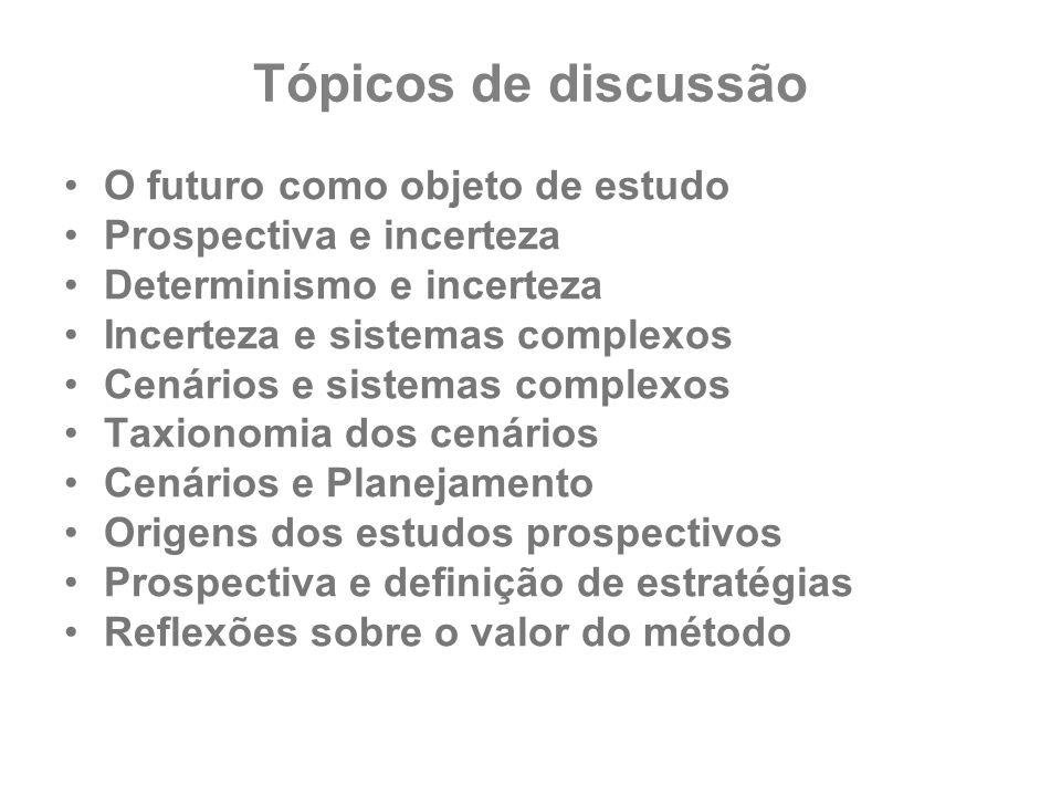 Tópicos de discussão O futuro como objeto de estudo