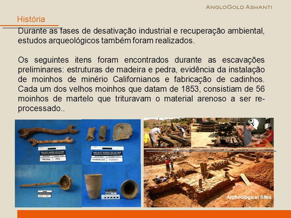 História Durante as fases de desativação industrial e recuperação ambiental, estudos arqueológicos também foram realizados.
