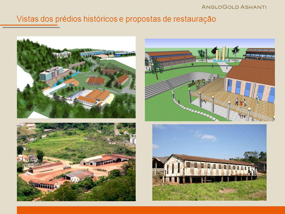 Vistas dos prédios históricos e propostas de restauração