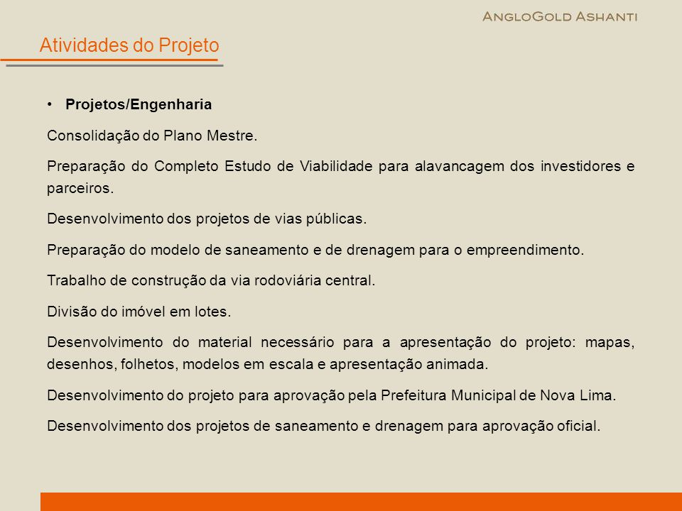 Atividades do Projeto Projetos/Engenharia