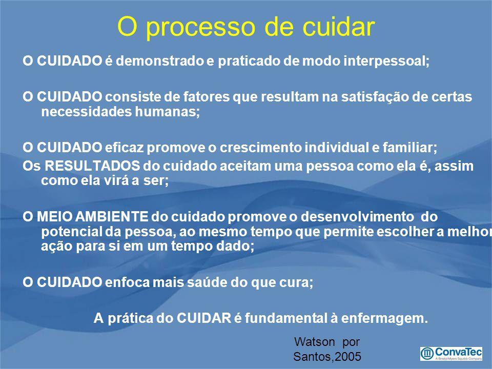 O processo de cuidar O CUIDADO é demonstrado e praticado de modo interpessoal;