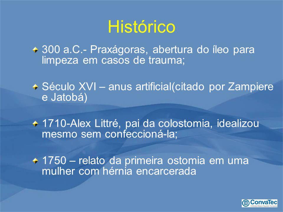 Histórico 300 a.C.- Praxágoras, abertura do íleo para limpeza em casos de trauma; Século XVI – anus artificial(citado por Zampiere e Jatobá)