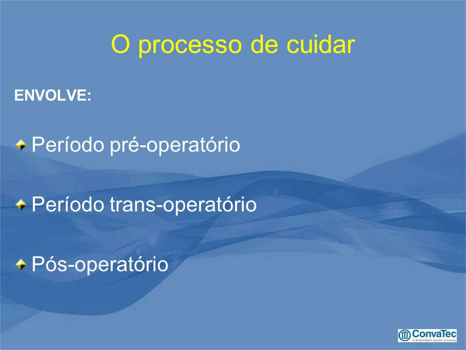 O processo de cuidar Período pré-operatório Período trans-operatório