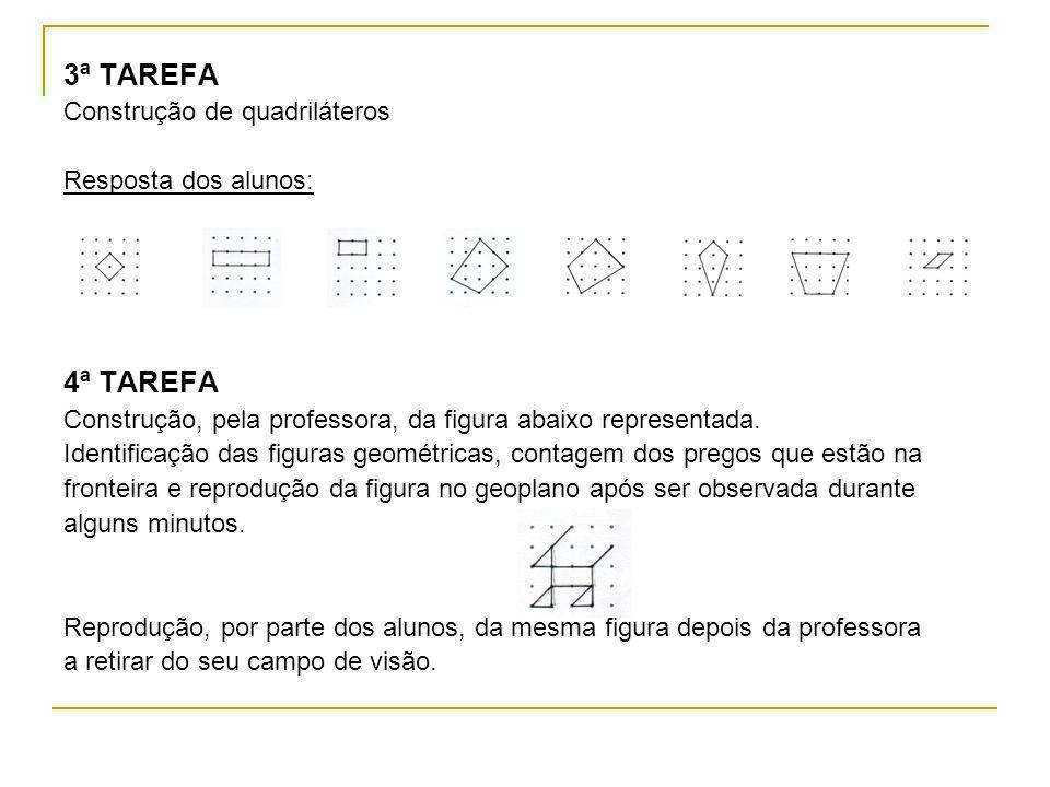 3ª TAREFA 4ª TAREFA Construção de quadriláteros Resposta dos alunos: