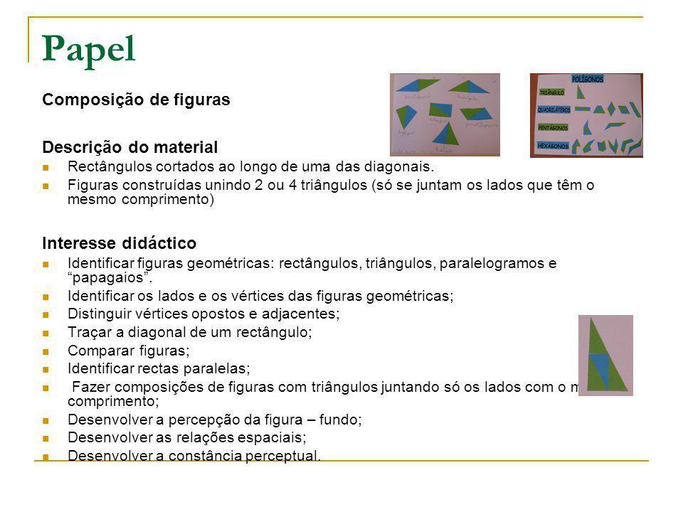 Papel Composição de figuras Descrição do material Interesse didáctico