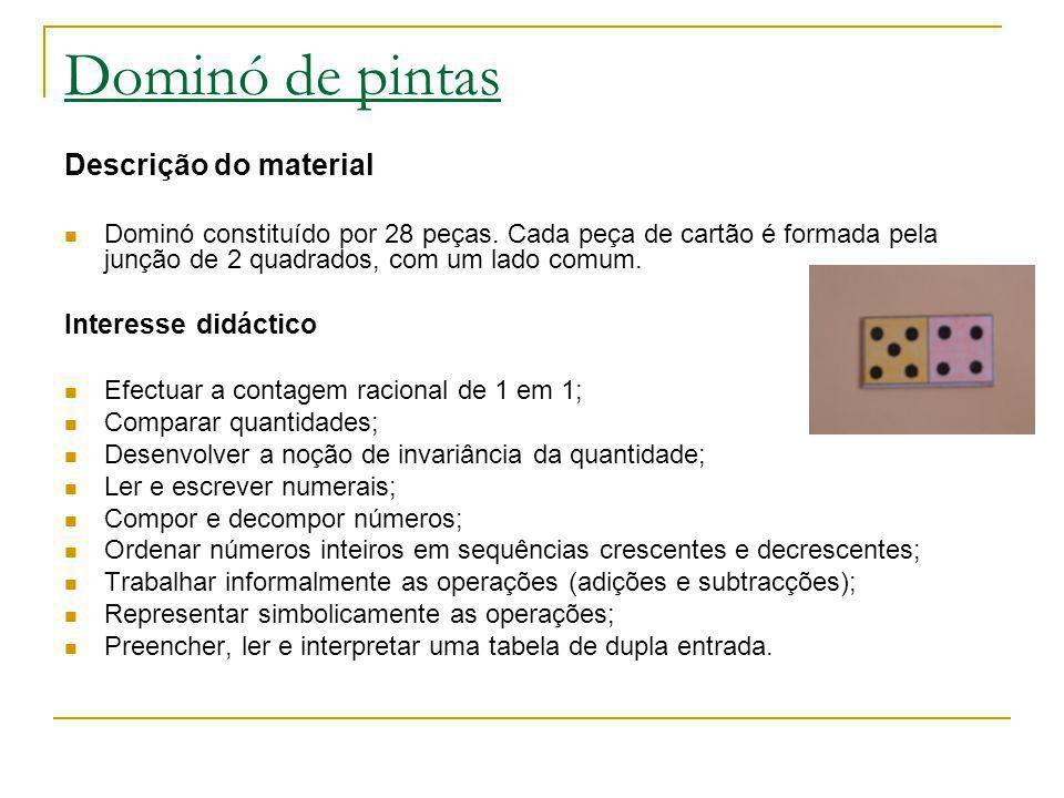 Dominó de pintas Descrição do material Interesse didáctico