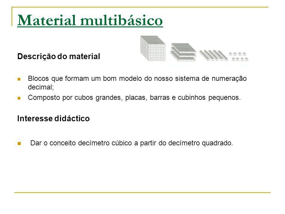 Material multibásico Descrição do material. Blocos que formam um bom modelo do nosso sistema de numeração decimal;