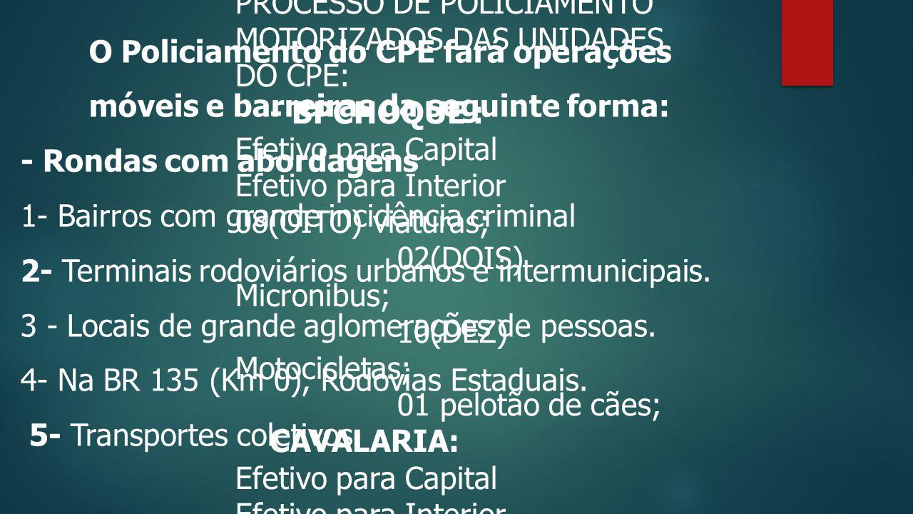 O Policiamento do CPE fará operações móveis e barreiras da seguinte forma: