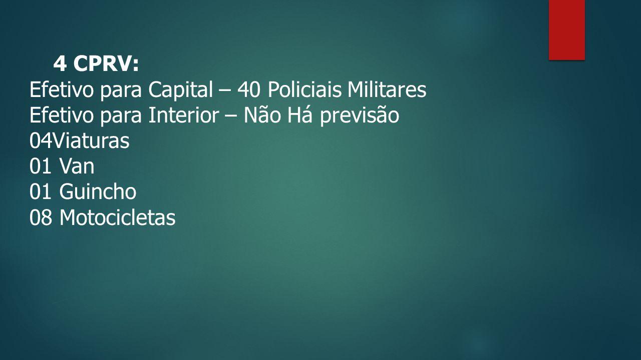 4 CPRV: Efetivo para Capital – 40 Policiais Militares. Efetivo para Interior – Não Há previsão. 04Viaturas.