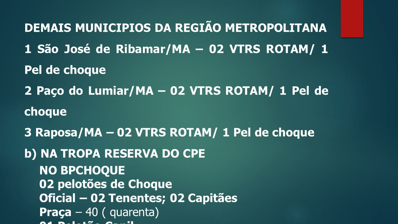 DEMAIS MUNICIPIOS DA REGIÃO METROPOLITANA