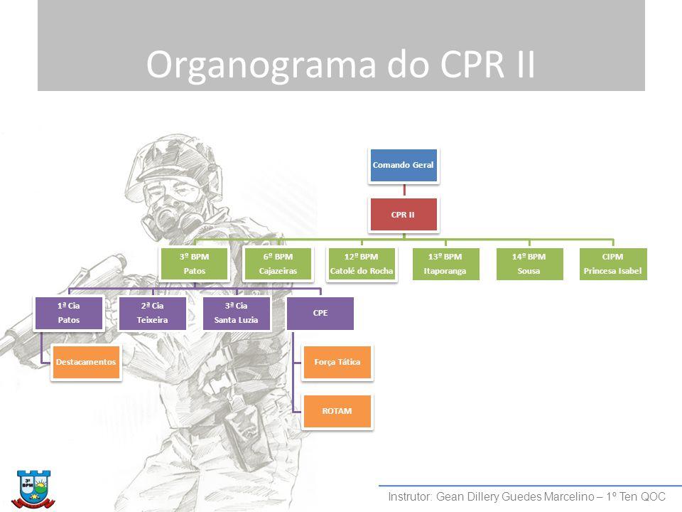Organograma do CPR II Comando Geral. CPR II. 3º BPM. Patos. 1ª Cia. Destacamentos. Teixeira. 2ª Cia.