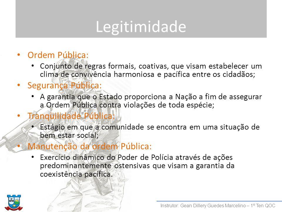 Legitimidade Ordem Pública: Segurança Pública: Tranqüilidade Pública: