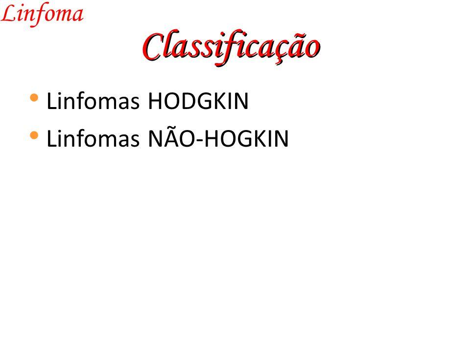 Linfoma Classificação Linfomas HODGKIN Linfomas NÃO-HOGKIN