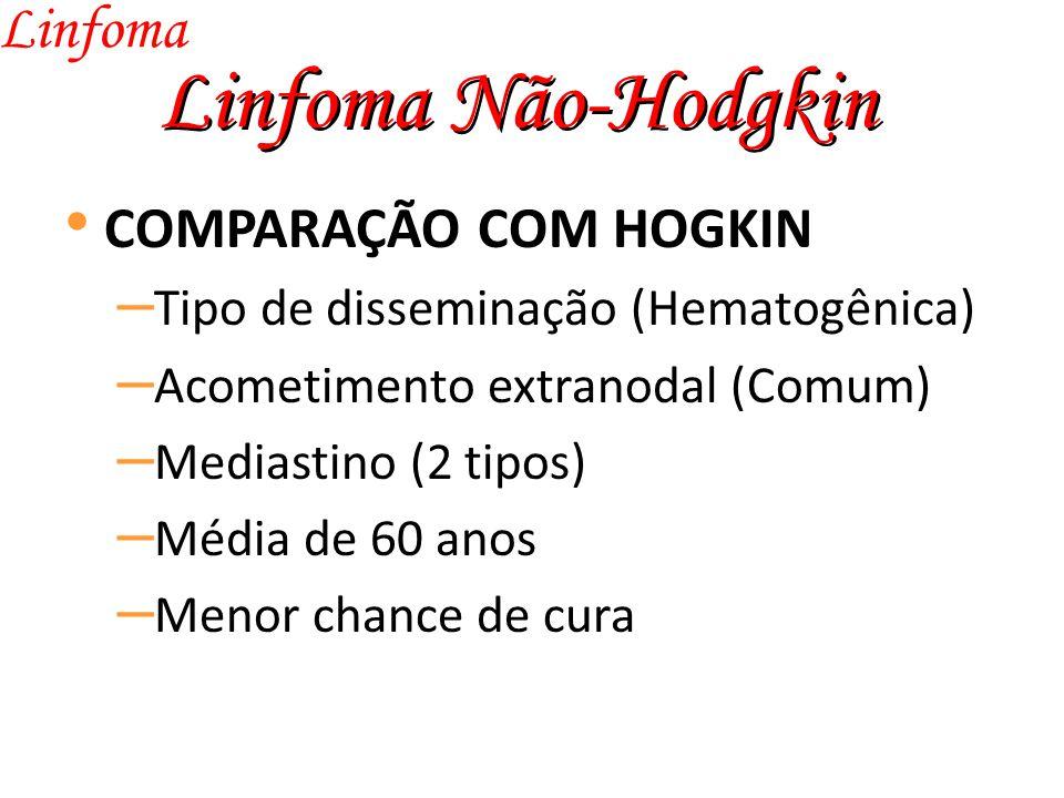 Linfoma Não-Hodgkin Linfoma COMPARAÇÃO COM HOGKIN