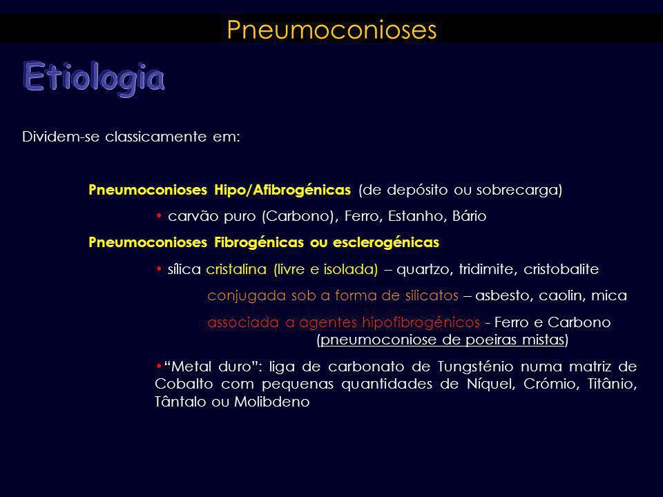 Etiologia Pneumoconioses Dividem-se classicamente em: