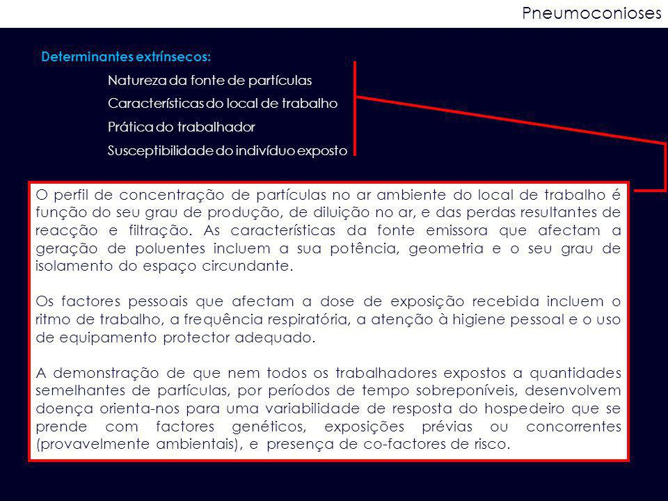 Pneumoconioses Determinantes extrínsecos: Natureza da fonte de partículas. Características do local de trabalho.