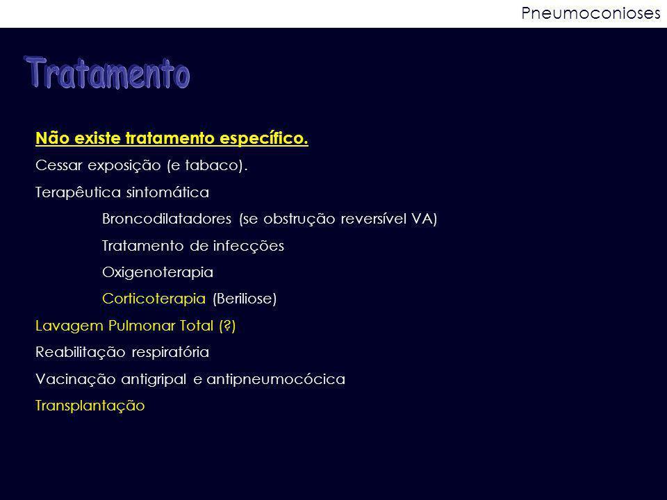 Tratamento Pneumoconioses Não existe tratamento específico.