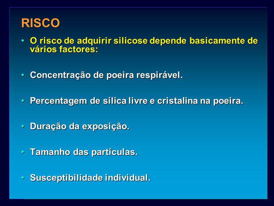 RISCO O risco de adquirir silicose depende basicamente de vários factores: Concentração de poeira respirável.