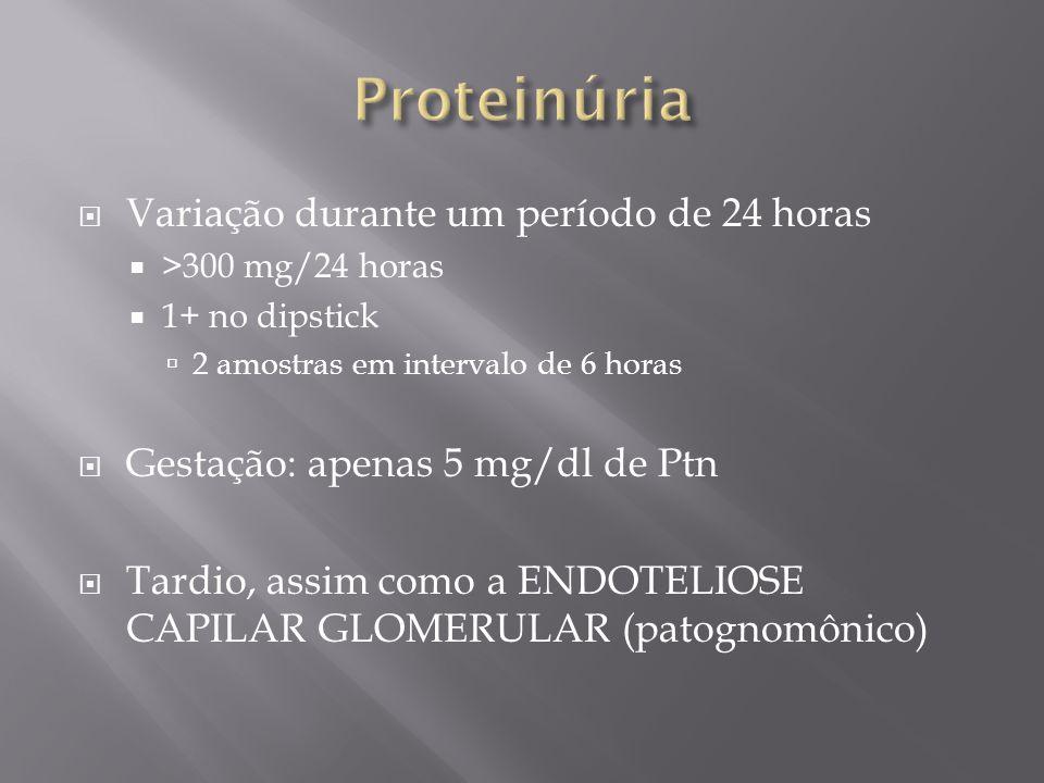 Proteinúria Variação durante um período de 24 horas