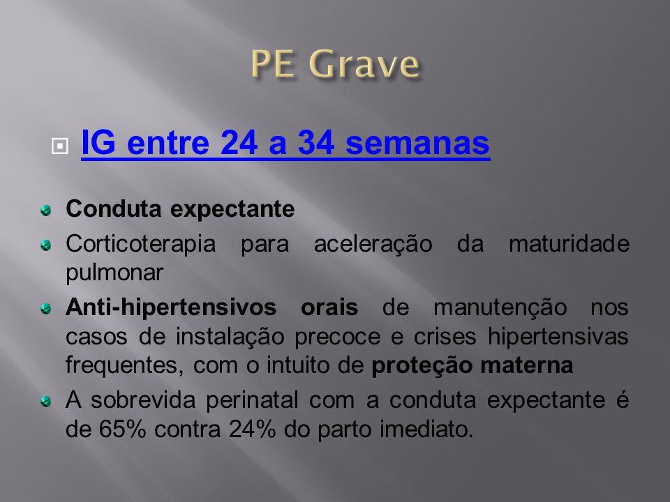 PE Grave IG entre 24 a 34 semanas Conduta expectante