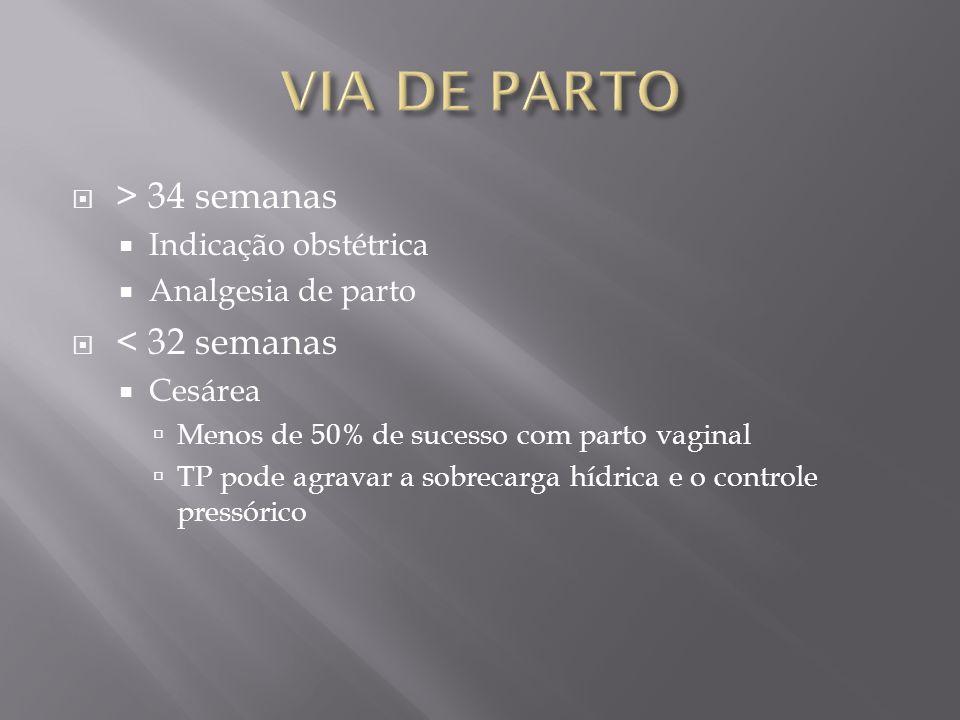 VIA DE PARTO > 34 semanas < 32 semanas Indicação obstétrica