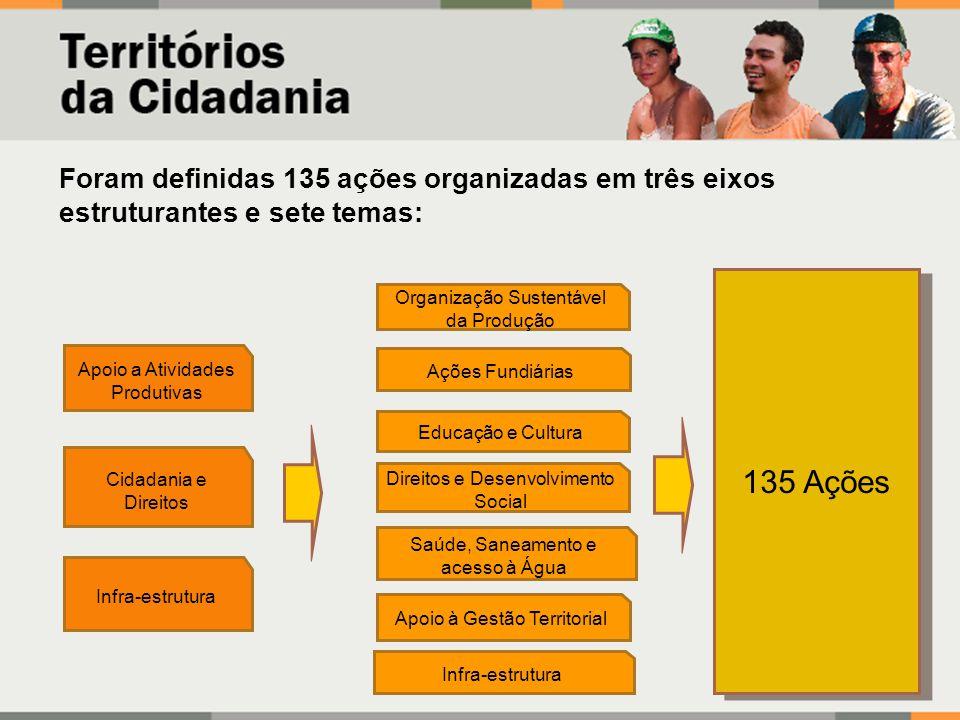 Foram definidas 135 ações organizadas em três eixos estruturantes e sete temas: