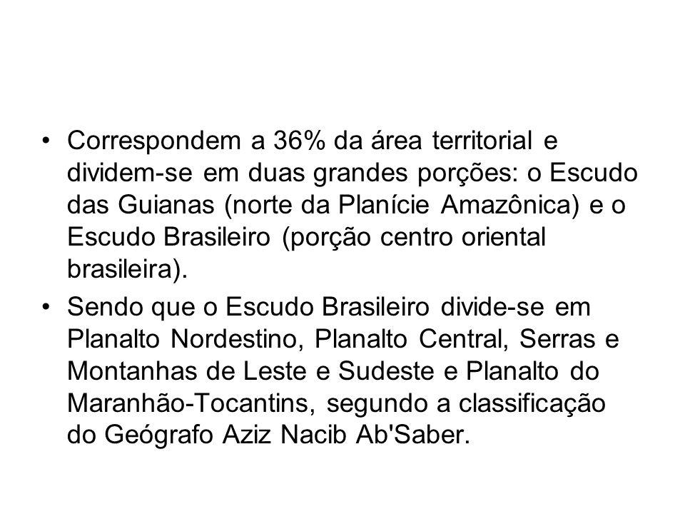 Correspondem a 36% da área territorial e dividem-se em duas grandes porções: o Escudo das Guianas (norte da Planície Amazônica) e o Escudo Brasileiro (porção centro oriental brasileira).