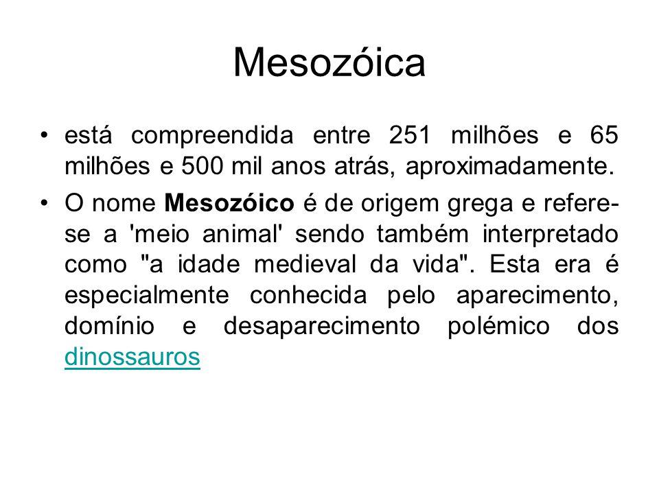Mesozóica está compreendida entre 251 milhões e 65 milhões e 500 mil anos atrás, aproximadamente.